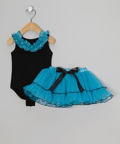 Take a look at this Turquoise & Black Ruffle Leotard & Tutu - Infant, Toddler & Girls by Reflectionz on #zulily today!