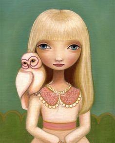 Owl art and big eyed girls room decor - Elsa print on somerset velvet - woodland pop surrealism by Marisol Spoon. $32.00, via Etsy.