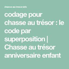 codage pour chasse au trésor : le code par superposition   Chasse au trésor anniversaire enfant