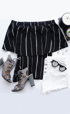 Heat is On Ivory and Black Striped Off-the-Shoulder Top