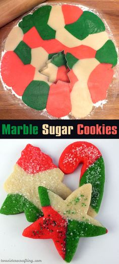 These festive Marble Sugar Cookies are a unique take on a traditional Christmas Sugar Cookie and will be one of your family's favorite Christmas Desserts. For more fun Christmas Treats Christmas Cookies Kids, Cookies For Kids, Christmas Sweets, Noel Christmas, Christmas Goodies, Holiday Cookies, Christmas Candy, Holiday Baking, Christmas Desserts
