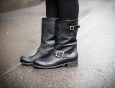 Jimmy Choo Biker Boot! Love the rounded shape of the boot around the toes! Super edgy and badass!