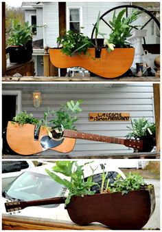 Unusual container gardens ... #repurpose #upcycle #guitar
