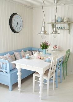 Dining Area, Dining Room, Swedish Cottage, Swedish Decor, Miniature Kitchen, Miniature Rooms, Tuscan Homes, Shabby Chic Romantique, Cottage Style Homes