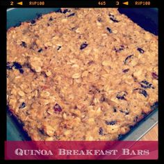 """Quinoa Breakfast Bars. Soft and chewy. So tasty! I made some substitutions based on my pantry and preferences (dates for sugar, almond butter, omit nuts/raisins). Not a """"cookie type"""" bar, more a healthy """"bread bite"""" :)"""