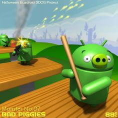 """""""Bad Piggies.jpg  Sho Baba: 【Halloween Bugdroid 3DCG Project】No.07Bad Piggies from Angry Birds.Although I have never Played yet.まだダウンロードしたこともないんだけどね。"""""""