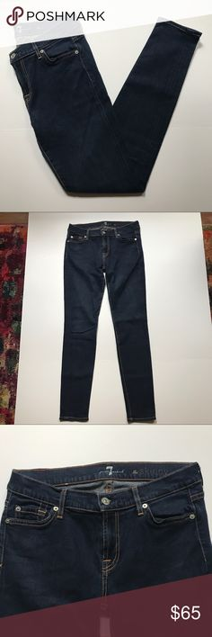 "[7 For All Mankind] The Skinny Dark Wash Jeans Perfect Condition! Only worn maybe once. ""The Skinny"" by 7 For All Mankind 7FAM. No Flaws. Size 29. Waist-29"" Length-39"" Rise-8"" Inseam-30"" 7 For All Mankind Jeans Skinny"