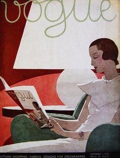 ⍌ Vintage Vogue ⍌ art and illustration for vogue magazine covers - 1932 Vogue Magazine Covers, Fashion Magazine Cover, Magazine Art, Old Magazines, Vintage Magazines, Art Deco Posters, Vintage Posters, Harlem Renaissance, Book Art