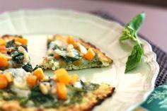 Grain-Free Gluten-Free Cauliflower Crust Pizza with Pesto, Butternut Squash and Spinach