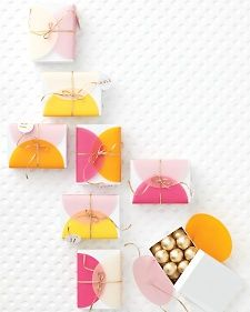 Cute party favor (or other gift) idea! Use circles of vellum, tissue paper, or other paper to spruce up a simple white box.