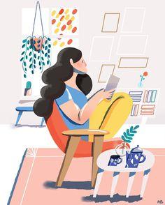 Indoor activities #illustration #autumn #books #reading #coffee #plants