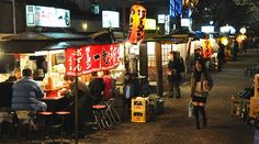 Fukuoka's open air food stands (Yatai) the best place to find them is on the southern end of Nakasu Island