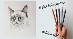 Рисуем скетчи! Угрюмый кот простым карандашом! #Dari_Art