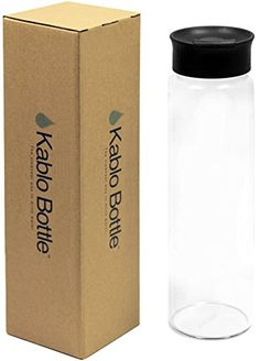 Glass Water Bottle 32 oz with Flip Cap 100 Borosilicate Glass by Kablo *** Click image to review more details.