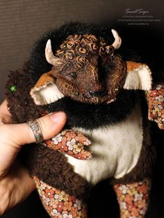 Fluffy Bison OOAK plushie doll animal america toy by SweetSign