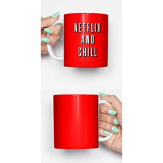 Netflix and Chill Funny Mug Gifts for Him Meme Mug Unique Mug Office... (€13) ❤ liked on Polyvore featuring home, kitchen & dining, drinkware, brown, drink & barware, home & living and mugs