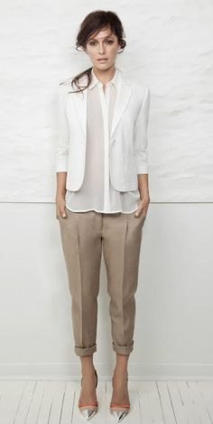 White blazer with pleated pants neutrals