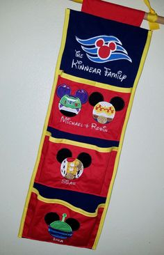 Shown here is a Toy Story themed fish extender to use on your Disney Cruise. Other character designs and fabrics are available, just ask!  When checking out, please note which designs and name youd like for the very top and then for each pocket starting from top to bottom. Also please note when your sail date is.  Two pocket - $36, Three pocket - $42, Four pocket - $48, Five Pocket - $54. Additional $3 for more than one design on a pocket. For example, if Mom and Dad share a pocket with two…