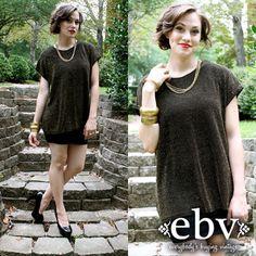 #Vintage #80s #Metallic #Gold #Disco Tunic Shirt Mini Dress Top S M L by shopEBV, $38.00