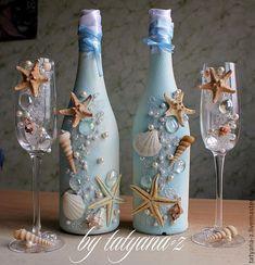 My handmade wedding theme Glass Bottle Crafts, Wine Bottle Art, Diy Bottle, Wine Bottles, Champagne Bottles, Baby Bottles, Perfume Bottles, Seashell Crafts, Beach Crafts