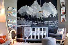 Unique baby boy nursery room with animal design 21 Baby Boy Rooms, Baby Boy Nurseries, Baby Boys, Kids Rooms, Mountain Mural, Mountain Nursery, Nursery Themes, Nursery Room, Themed Nursery