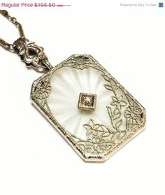 Vintage Art Deco Sterling Silver Necklace, Camphor Glass, (Rock Crystal, Quartz), Diamond, Filigree, Etched Chain, Wedding Jewelry,