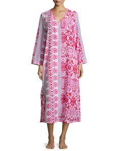 Long-Sleeve Ikat-Print Caftan, Pink, Size: XL, Pnkdc - Oscar de la Renta Pink Label