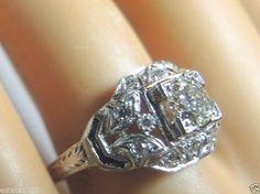 Antique Diamond Engagement Ring 18K White Gold Ring Size 7.5 EGL USA Art Deco #Engagement