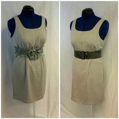 """NY&CO Closet Staple! Grey Sheath Dress size 14 NY&CO Closet Staple! Grey Sheath Dress, size 14, sleeveless, scoop neckline, lined, vertical back darts emphasize waist, 16"""" back center zipper, 5"""" center back kick slit, 100% polyester,  35"""" length shoulder to hem, 19"""" bust laying flat,. This listing is for grey sheath dress. Belts, blazers, jewelry not included. Blazers are in this closet on separate listings. New York & Company Dresses"""