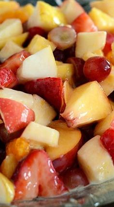 Fruit Salad with Glazed Dressing. Need a go-to fruit salad recipe? This fruit salad with creamy glazed dressing is sure to be a family favorite! Dessert Salads, Fruit Salad Recipes, Dessert Recipes, Fruit Salad Glaze Recipe, Desserts, Yummy Recipes, Recipies, Summer Salads With Fruit, Fresh Fruit