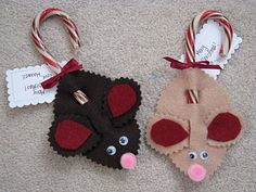 Making Merry Memories: Class Gift - Candy Cane Mice Christmas Candy, Christmas Art, Christmas Ornaments, Christmas Ideas, Crafts For Kids, Arts And Crafts, Bazaar Crafts, Homemade Ornaments, Felt Mouse