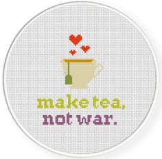 Make Tea Not War PDF Cross Stitch Pattern por DailyCrossStitch
