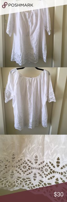 Vince Camuto 3/4 sleeve blouse Beautiful cotton lace detailing adds ethereal texture to this feminine, summer blouse. 100% breathable cotton. From Nordstrom's, by Vince Camuto. Vince Camuto Tops Blouses
