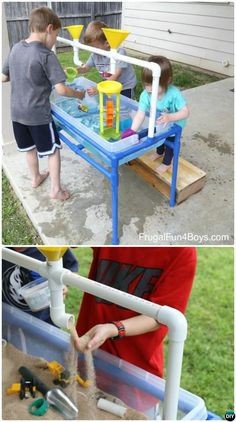 DIY PVC Pipe Sand Water PVC Pipe DIY Projects For Kids Easy PVC pipe projects are cool and awesome choice for parents to bring fun and keep kids active and constructive during playing. Outdoor Toys For Toddlers, Diy Outdoor Toys, Kids Outdoor Play, Backyard For Kids, Pipe Diy Projects, Diy Projects For Kids, Diy Garden Projects, Diy For Kids, Kids Fun