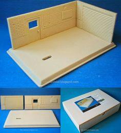 "Kit Diorama Taller. 3 piezas: Peana + pared grande + pared pequeña. Kit diorama ""Garage"". Parts: Base + large wall + small wall"