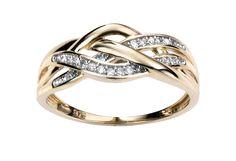 9ct Yellow Elements Gold Diamond 3 strand criss-cross Ring