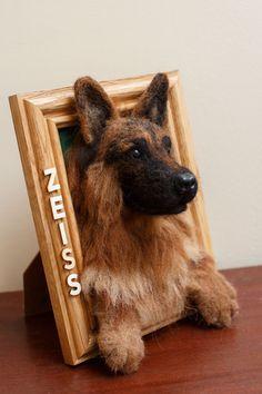 Needle Felt German Shepherd Custom Picture Frame 3D Wool by kdc123
