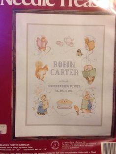 Beatrix Potter Birth Sampler ColorArt Cross Stitch Peter Rabbit Characters Kit
