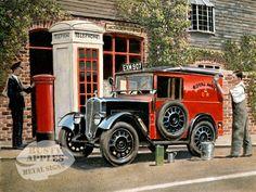 Royal Mail Van(RN) Uk Transport, Bolt Action Miniatures, Austin Cars, Classic Cars British, Old Lorries, Nostalgic Art, Antique Trucks, Country Scenes, Car Posters