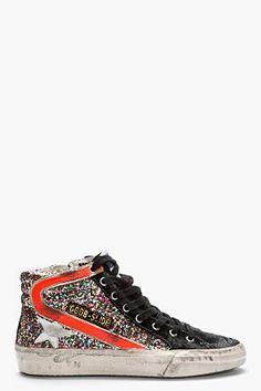 GOLDEN GOOSE // Black Glitter Slide Sneakers