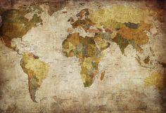 Old Vintage World Map - Wall Mural & Photo Wallpaper - Photowall