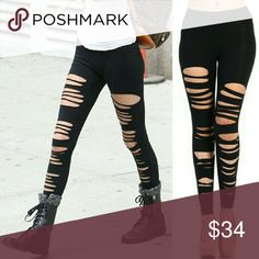 Black Ripped Leggings Ripped Leggings. 95% Cotton, 5% Spandex. Available on 07/21. One of each size. Pre-order. Pants Leggings