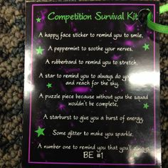 Competition Survival Kit Tag. Before the first competition we gathered all of these items and put them into custom cups we found at the dollar store. This tag was tied to the outside and the girls loved them!
