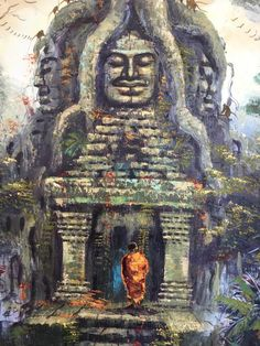Free Shipping A colorful oil painting from Cambodia, depicted of Tasom Temple Gate. Ta Somis a small temple atAngkor,Cambodia, built at the end of the 12th