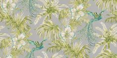 Bird of Paradise Jade/Kiwi (W6655-04) - Matthew Williamson Wallpapers - A fabulous bird of paradise, with exotic feathers flying through flowers and leaves. Shown in the vivid jade and  kiwi green on metallic silver. Please request sample for true colour match.