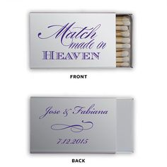 Personalized Wedding Matches Matchbook Custom Printed Lots of Colors and Designs to choose from Match Made in Heaven Only 1.10 each