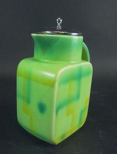 Art Deco Kakaokanne  mit Spritzdekor - grün-gelb