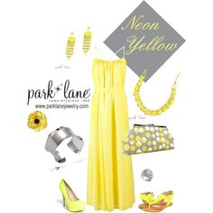 Neon Yellow, created by parklanejewelry on Polyvore    Park Lane Jewelry featured: Neon Necklace  Earrings, Modern Bracelet  Studded Ring..