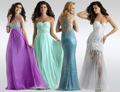 Purple, Green, Teal, and White Prom Dresses