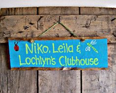 Reclaimed YOUR KIDS PLAYHOUSE CLUBHOUSE Childrens CUSTOM Sign Barn Wood Style